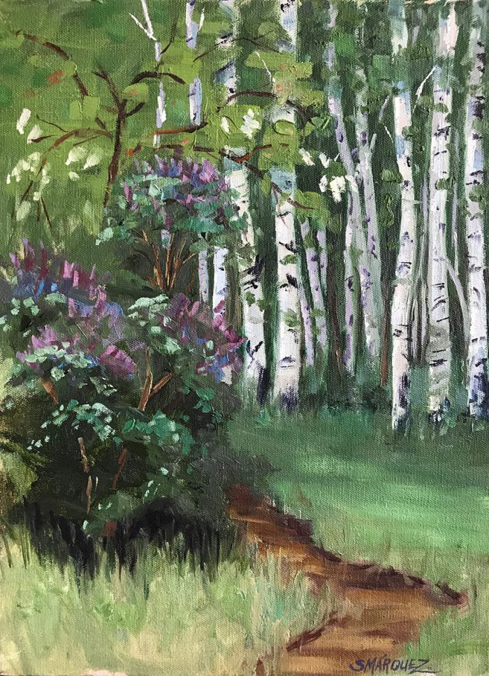 Aspens and lilacs plein air oil painting