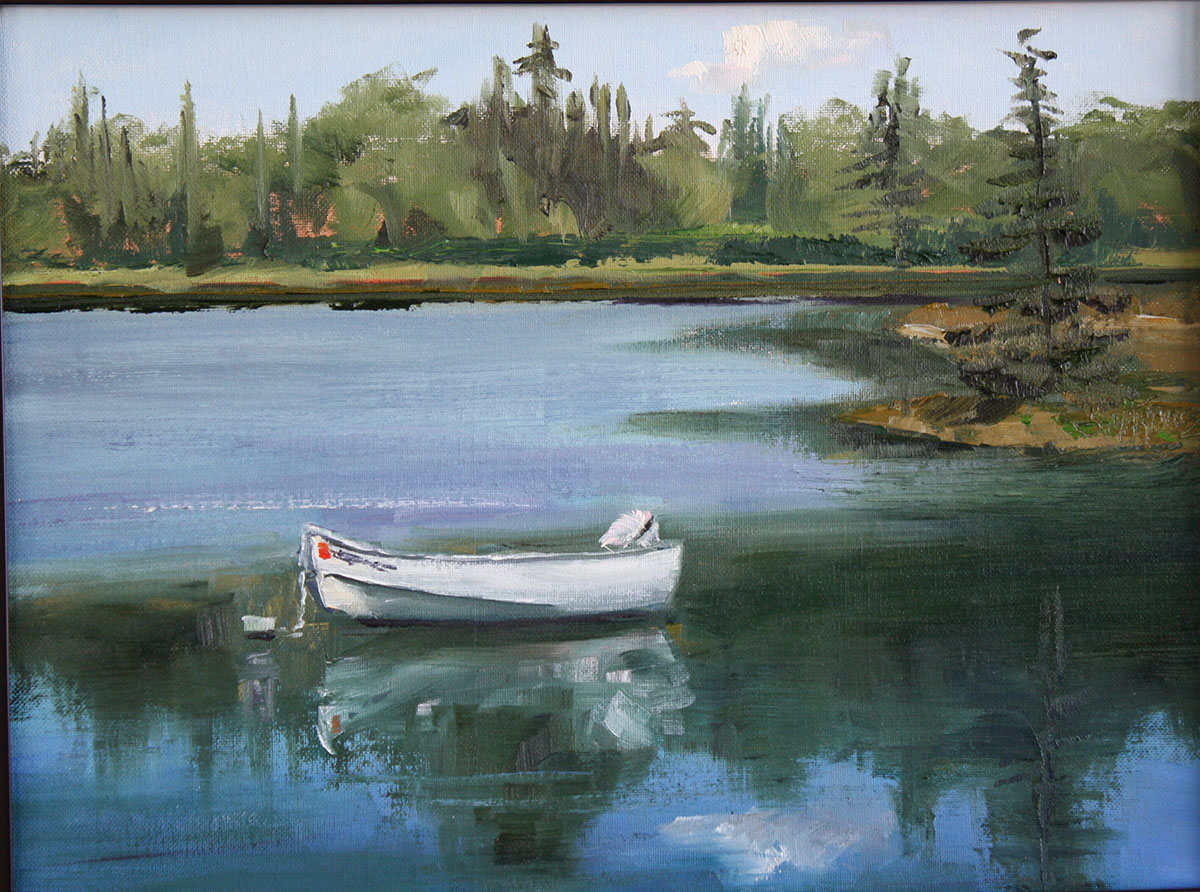 Boat on the water in Maine plein air oil painting