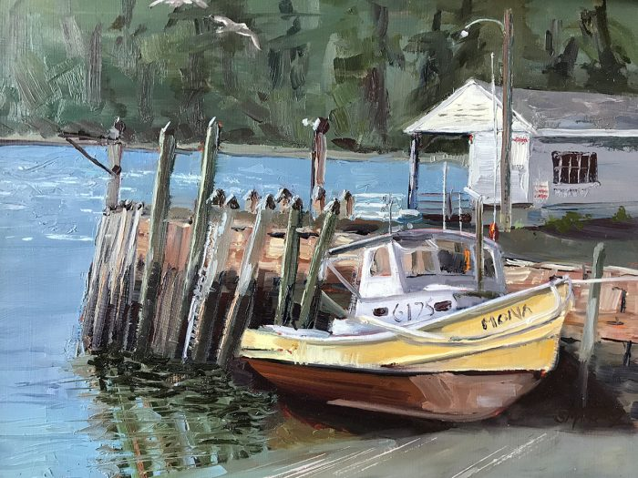 boat in Maine plein air oil painting