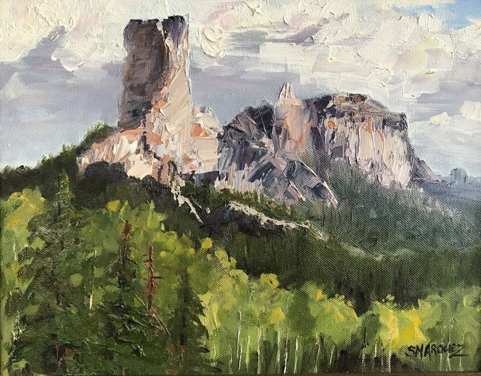 Oil painting of chimney rock and courthouse in colorado