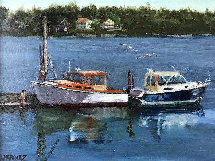 Maine Pier plein air oil painting