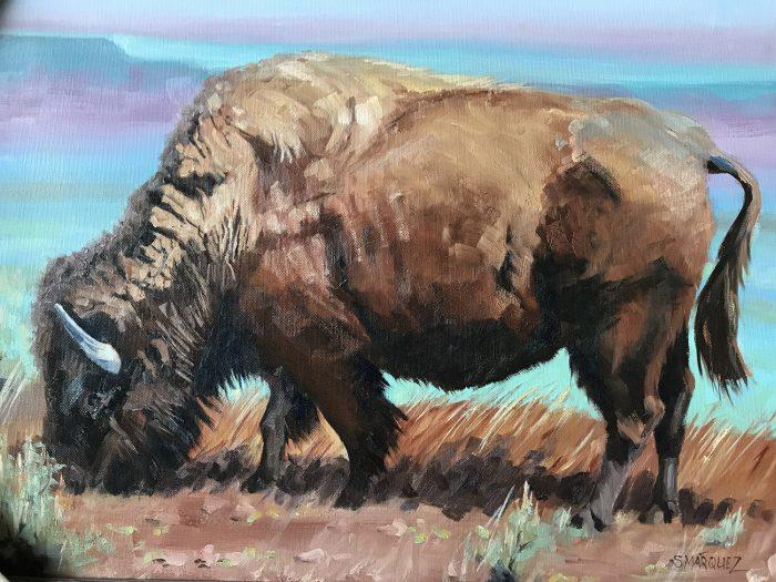 Rainbow Buffalo grazing oil painting