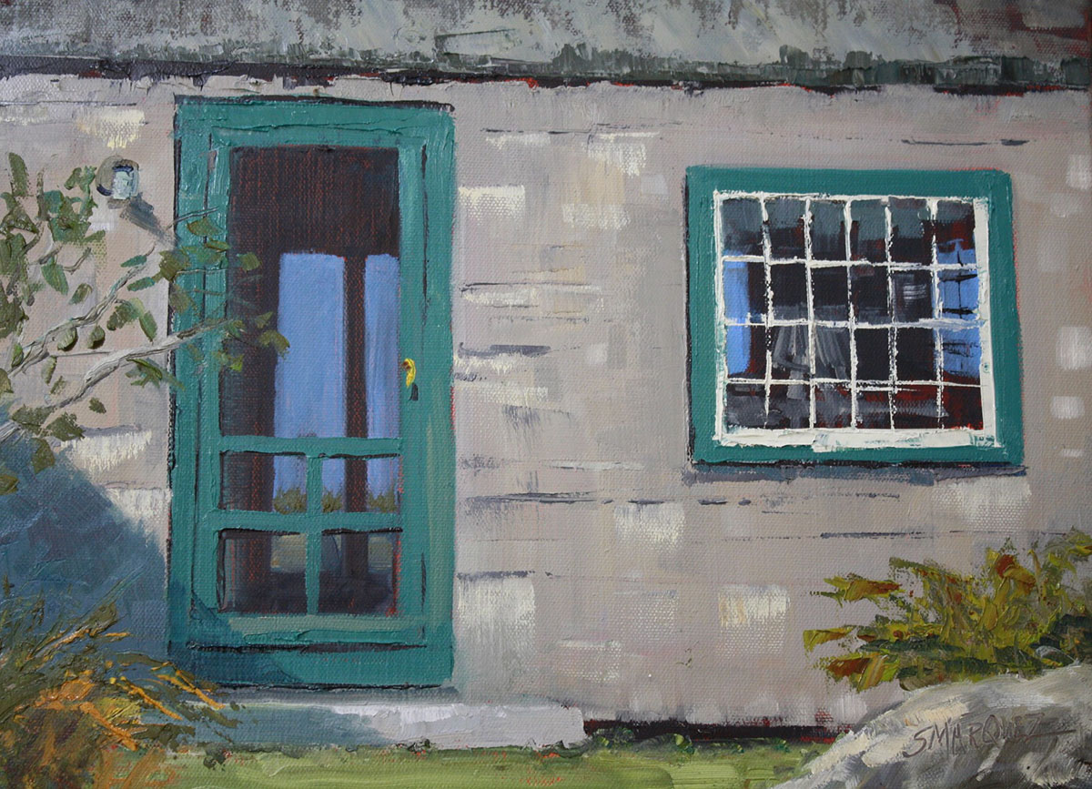 Shortcut to the water plein air oil painting of Maine