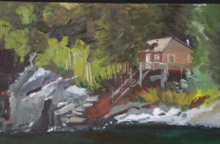 stairs to the water in Maine plein air painting