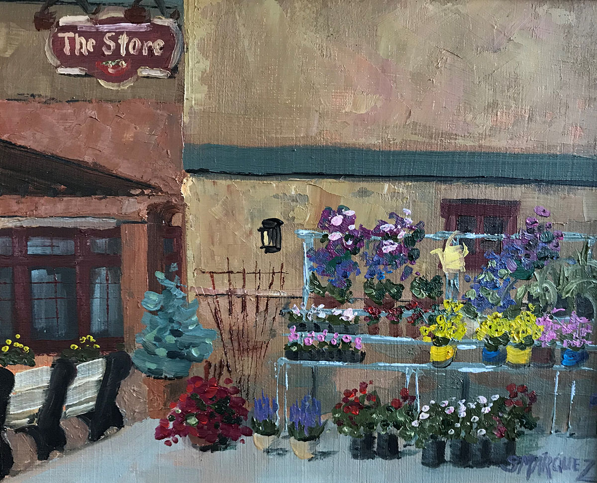 flowers for sale plein air oil painting