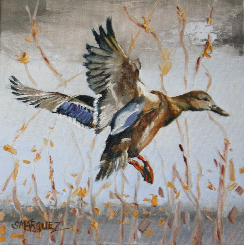 Landing duck oil painting