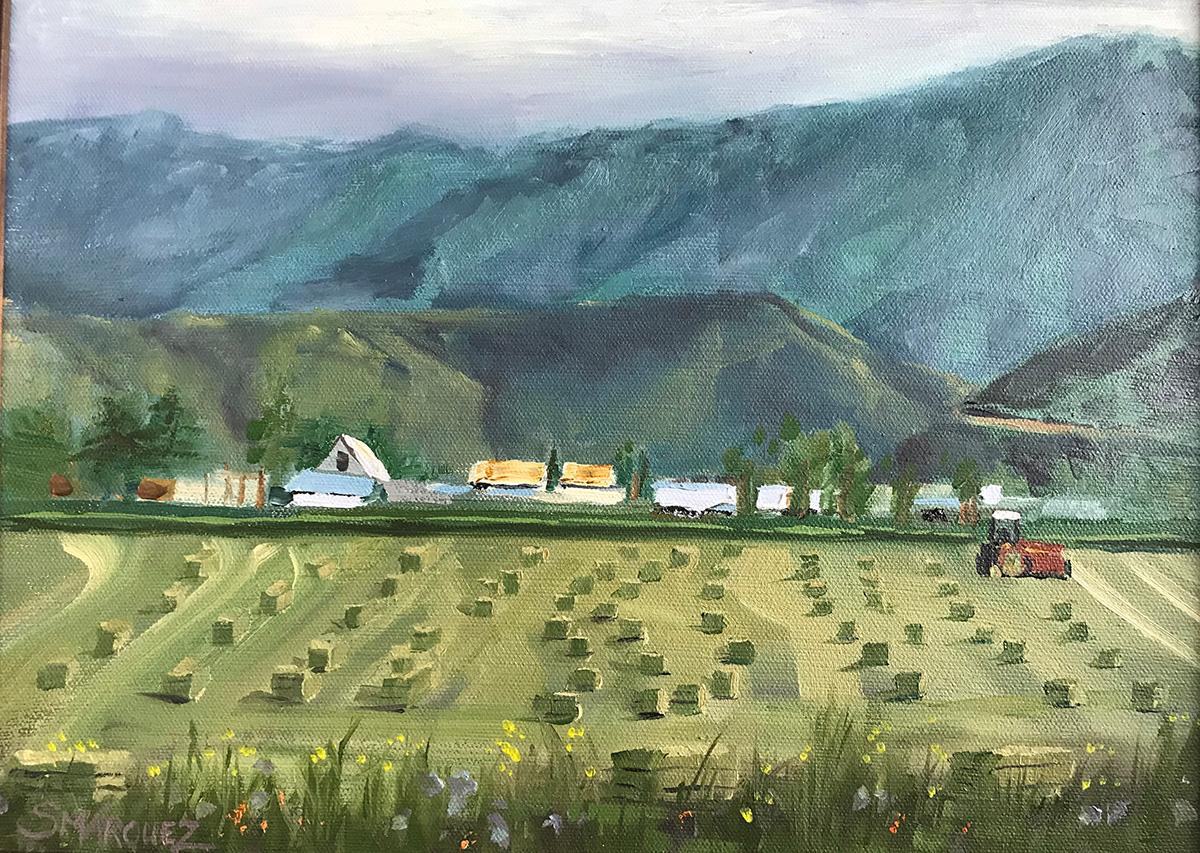Farmer is bailing - plein air oil painting