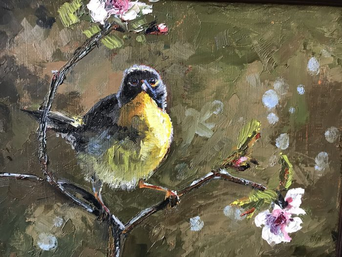 Bird in blossoming tree oil painting