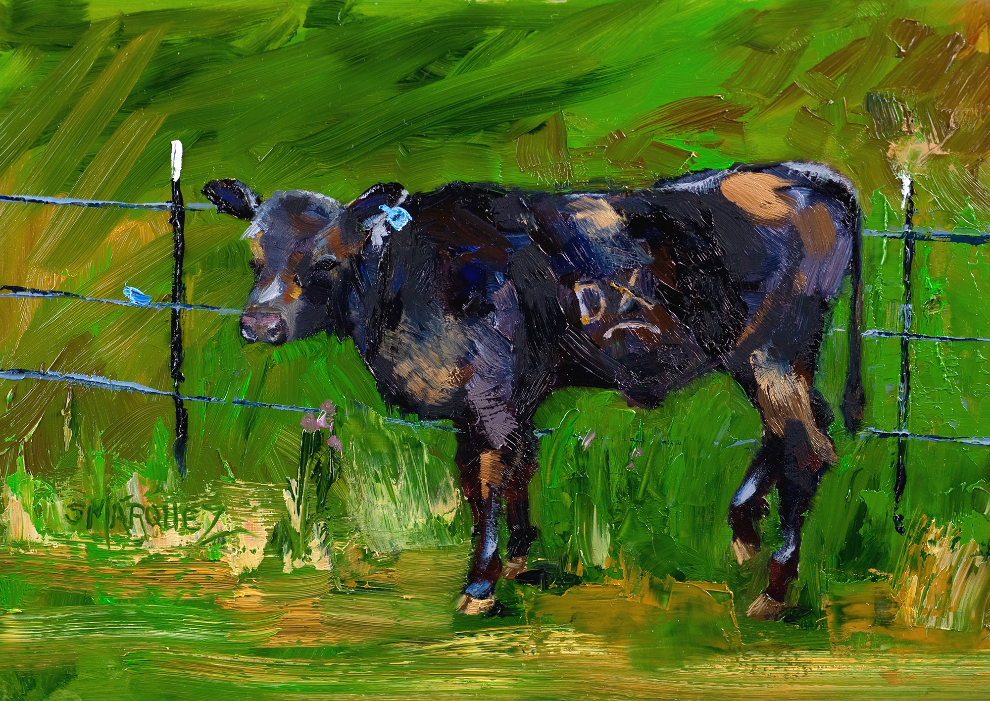 branded calf oil painting