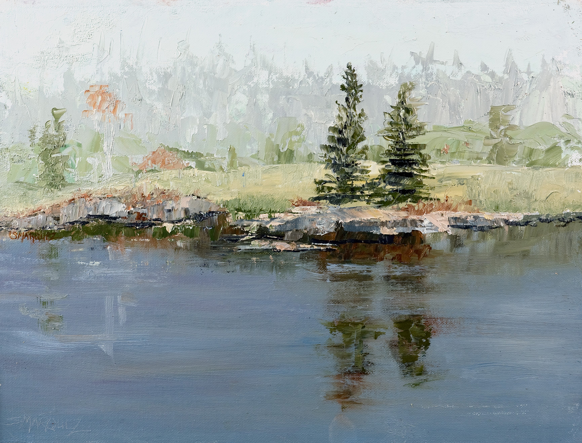 Misty morning plein air oil painting