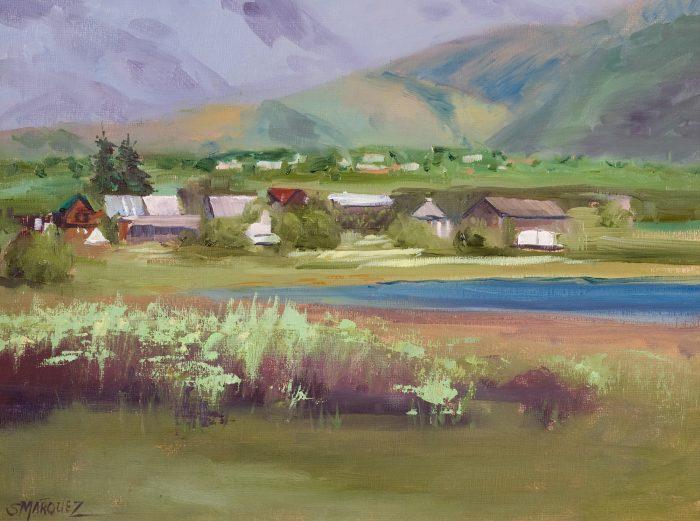 village near lake plein air oil painting