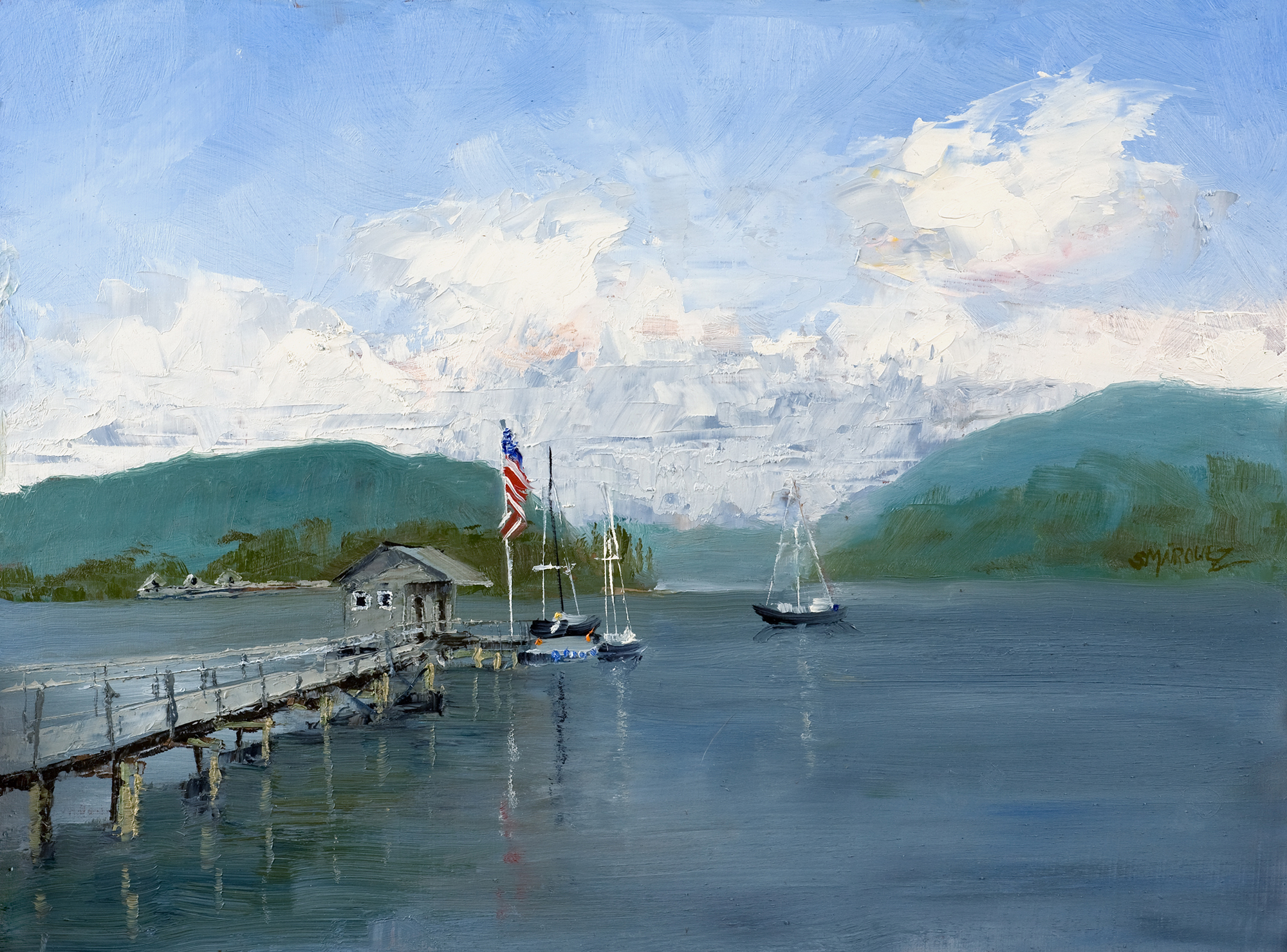 Old Glory Plein Air Oil Painting
