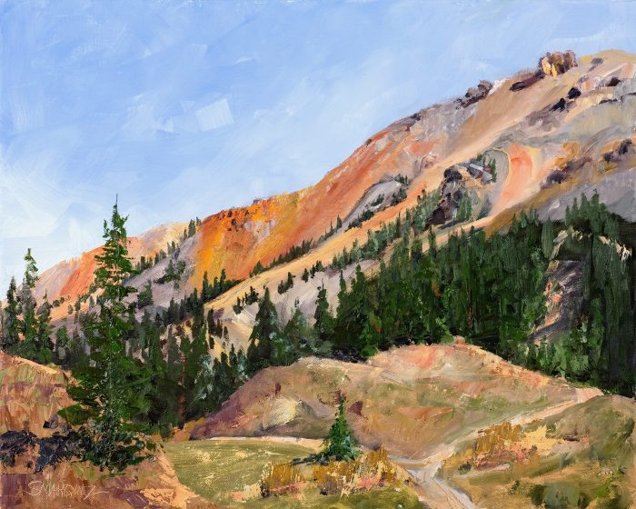Red mountain plein air oil painting