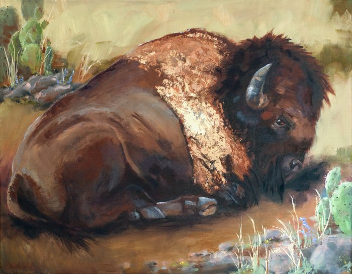 Buffalo Laying down oil painting