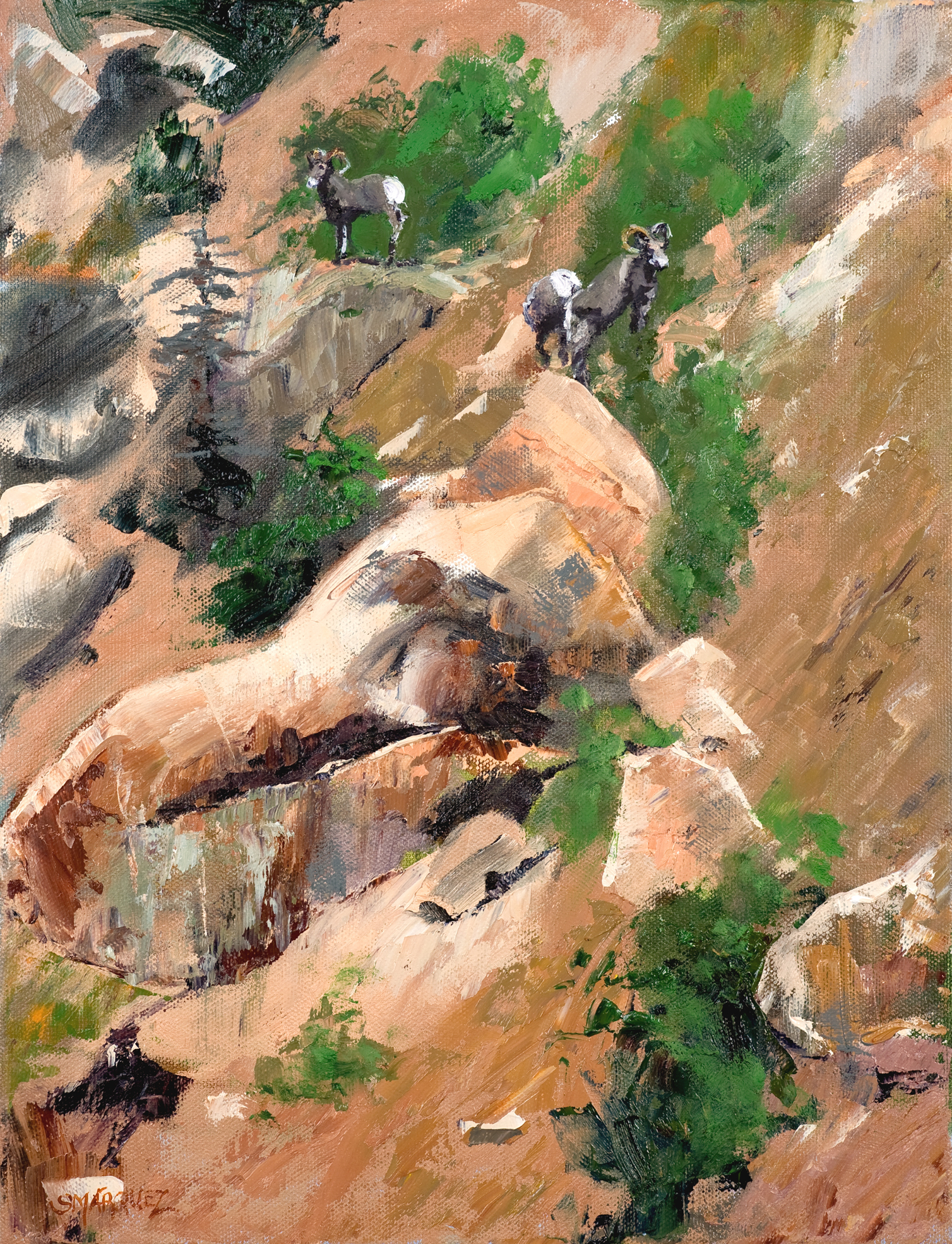 Mountain Sheep oil painting