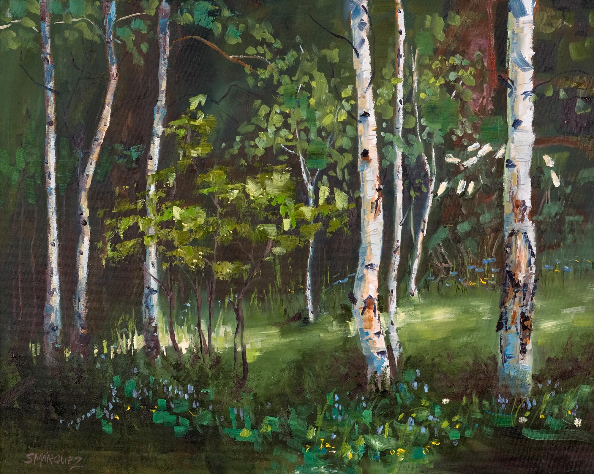 Sunlight through the aspen glen plein air oil painting
