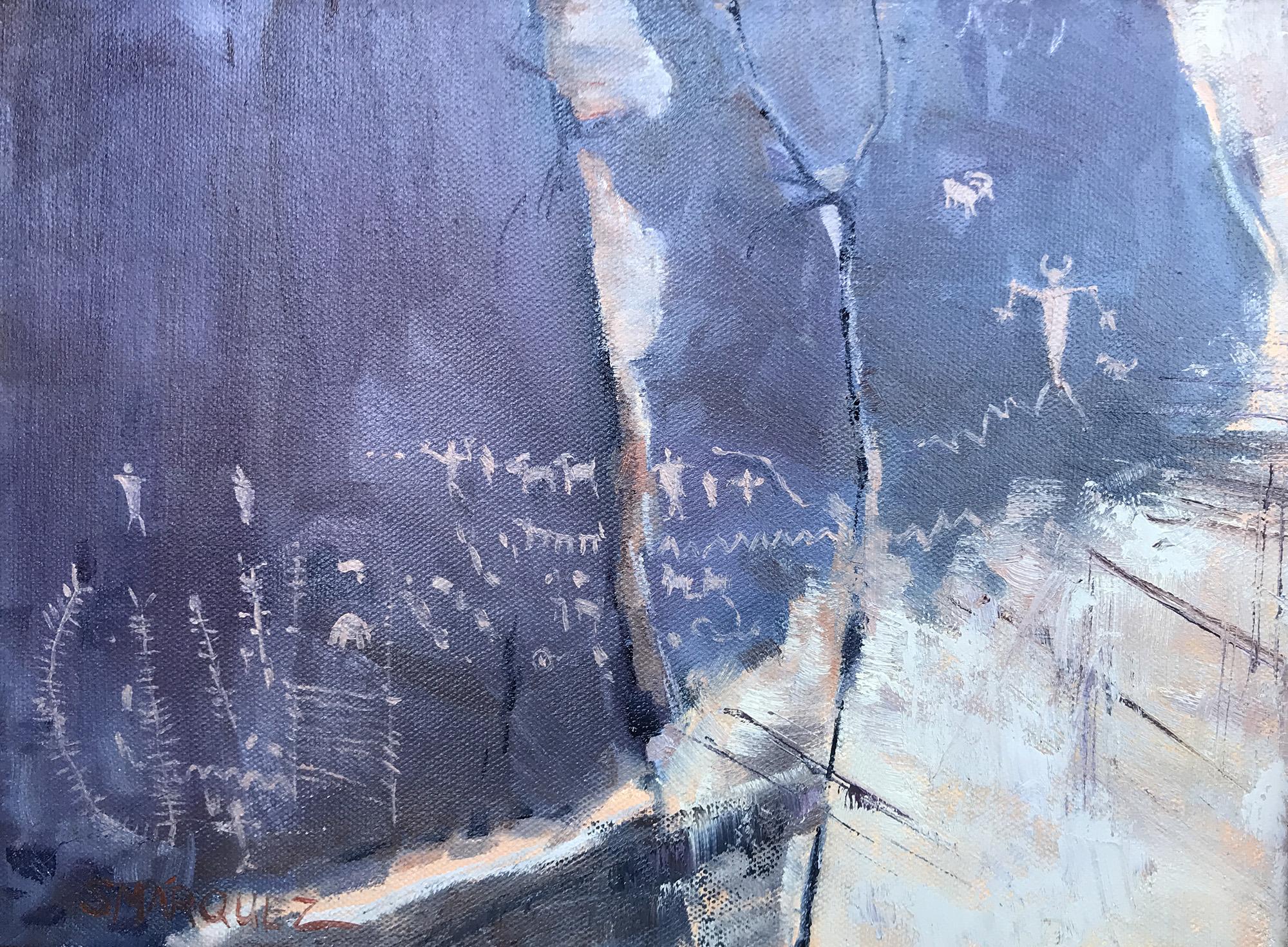Moab Petroglyphs Oil Painting