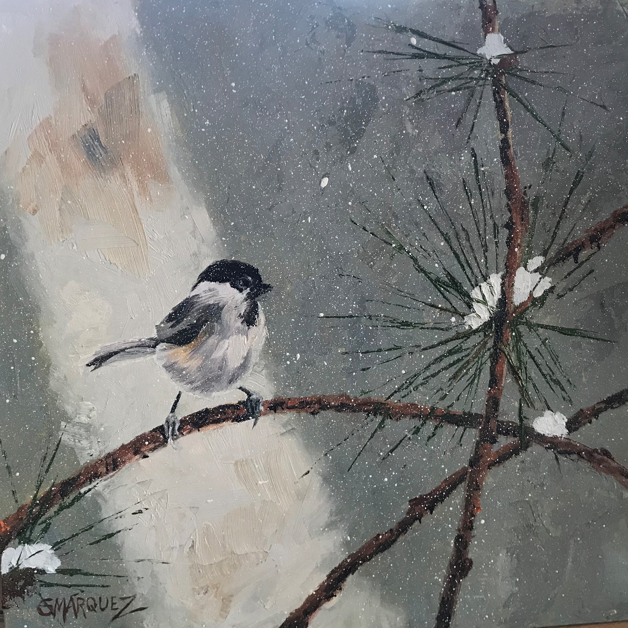 Braving the Storm Bird in Winter Oil Painting