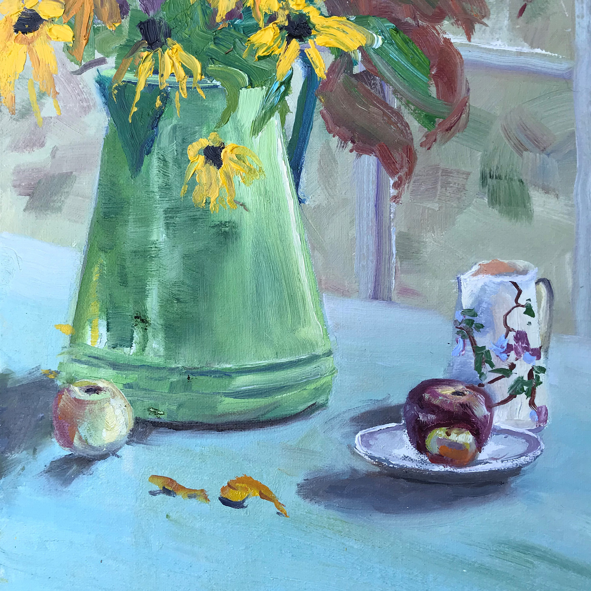 Green Coffee Pot with Sunflowers in Maine