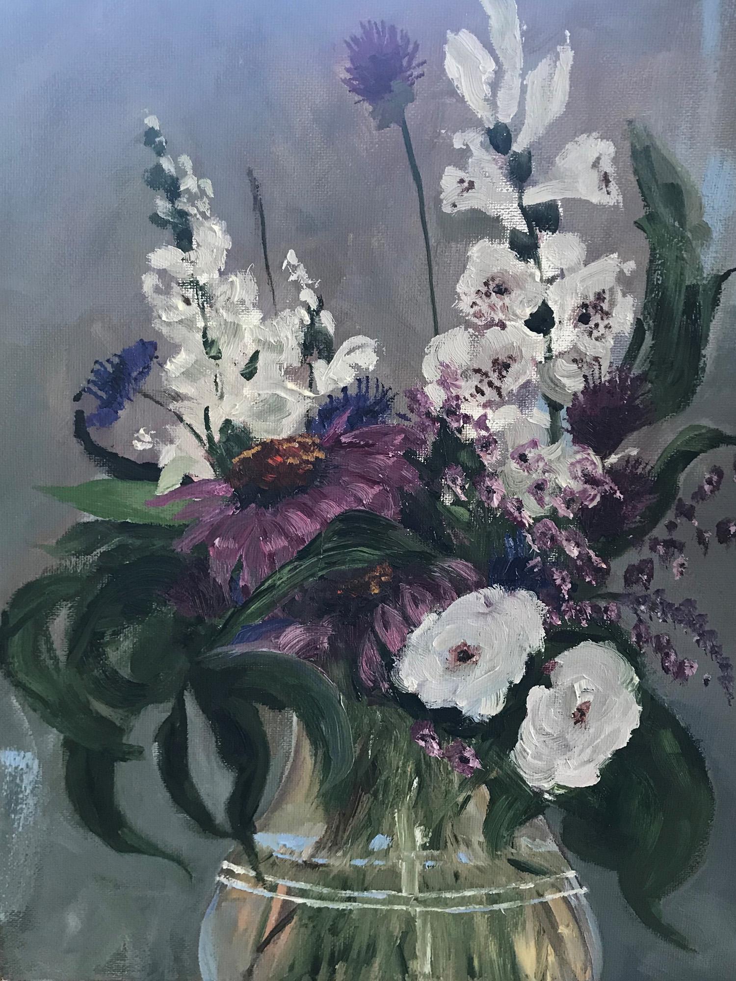Oil Painting of Flower Vase