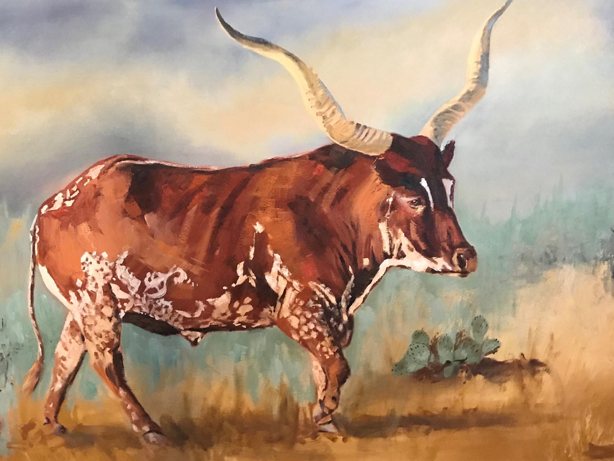 Long Horn Steer Oil Painting
