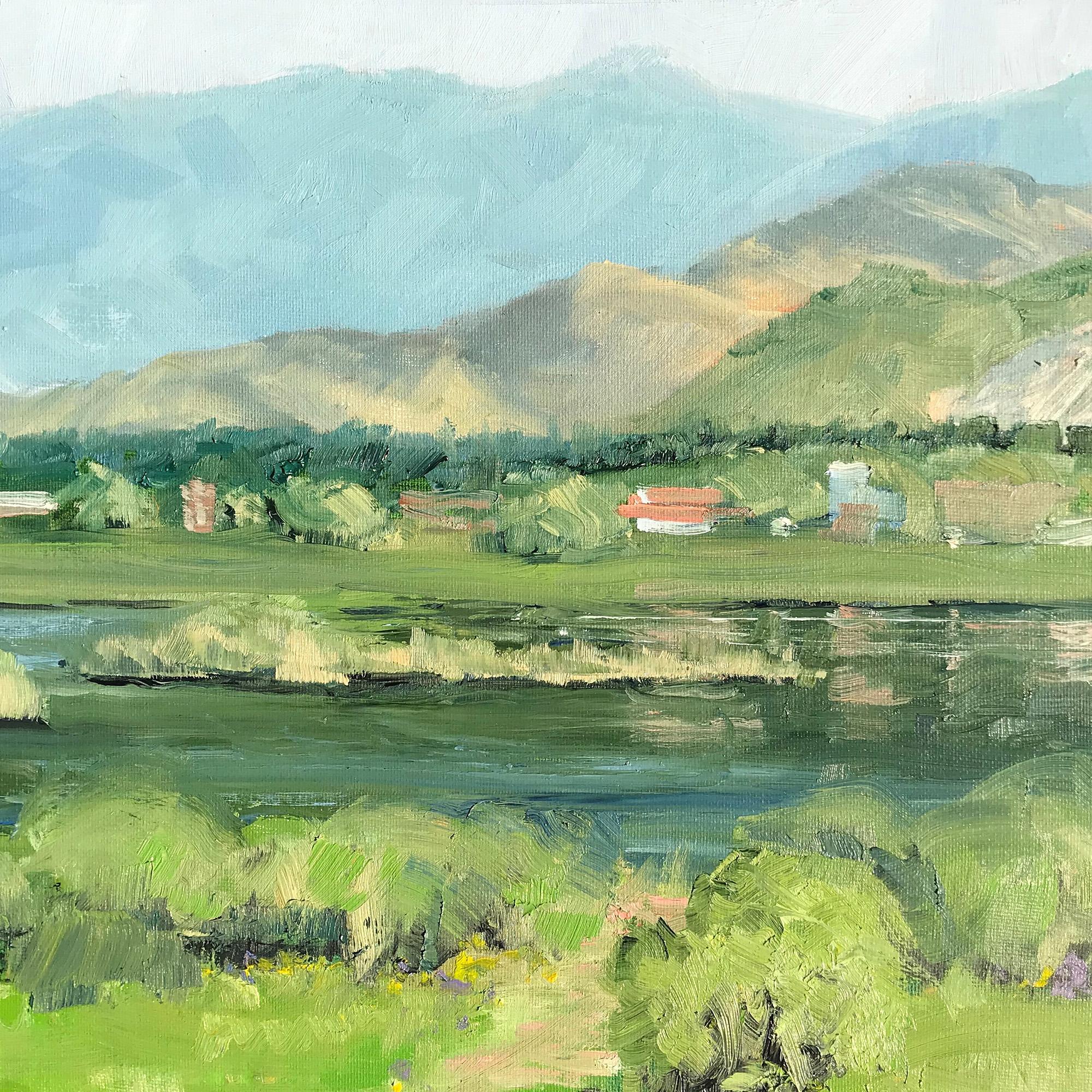 Plein Air Painting at sunrise at Deer Creek Reservoir