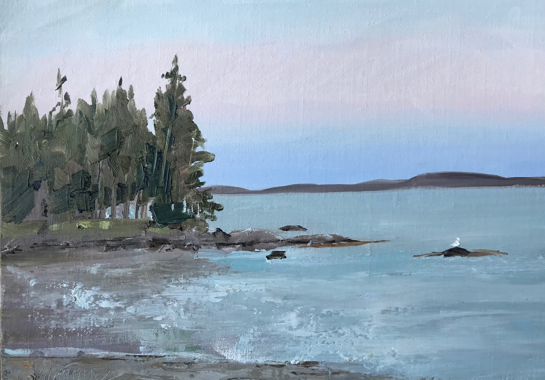 Plein Air Painting of Sunset at Maine Pier