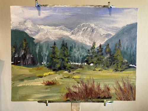 Plein Air oil painting in Estes Park
